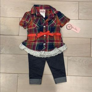 Little Lass plaid top and denim bottom set